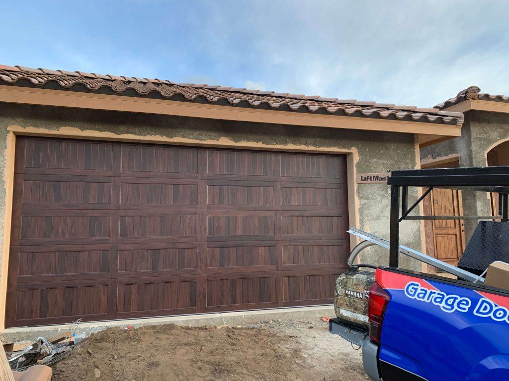 dark walnut finish on CHI Garage Doors in Alpine